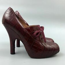Vivienne Westwood Red Mock Croc Leather Platform Pumps Heels Shoes Size IT38 UK5
