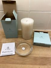 Partylite Amber Wood & Vanilla Pillar Candle With Clear Holder (b3)