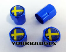 BLUE Metal Sweden Swedish Flag Car Valve Caps Tyre Dust Caps Saab Volvo