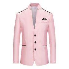 Men's Single Breasted Slim Fit Stand collar Long sleeve Blazer Jacket Occident D