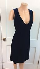 MODA INTERNATIONAL Blue Velvet Dress Fitted Sleek Sleeveless Women's Small