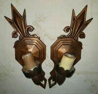 "VTG Pair (2) Bronzed Art Deco Arts & Craft ""Trident"" Tip Wall Sconce 1900-1940"