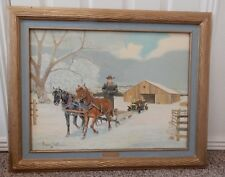 Western Folk Art Painting Rancher Cowboy Horse Team Skid Pullin Car Howard Piatt