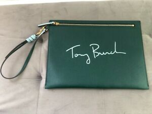 Authentic NEW Tory Burch Green Leather Pouch ,Clutch