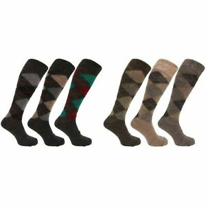 Mens 3 Pairs Warm LONG HOSE Super Soft Wool mix Argyle Socks