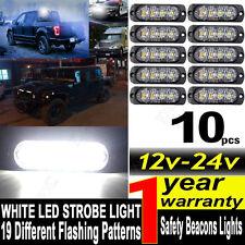 10x 12/24V 4LED White Strobe Flashing Light Emergency Hazard Truck Warning Lamp