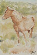 "Original watercolour painting,""Palomino"" horse landscape."