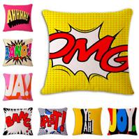 Retro Pop Art Cushion Covers! Vintage Bold Colour Comic Book Pillows 45cm Gift