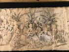 """Antique tapestry Belgium Salon courting scenes early 1800s 18""""x 53"""" Cotton"""