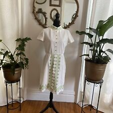 vintage white summer dress with Gorgeous green embroidered
