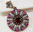RED RUBY & WHITE TOPAZ EUROPEAN PENDANT SOLID 925 STERLING SILVER