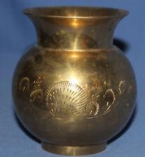 Vintage Hand Made Ornate Engraved Brass Vase