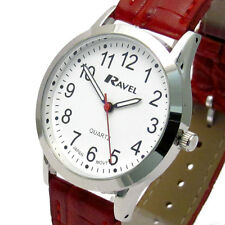 Ravel Mens Super-Clear Easy Read Quartz Watch Red Strap White Face R0130.10.1