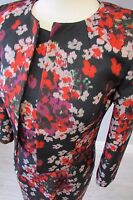 HOBBS BLURRED FLOWER DRESS SUIT - SIZE 8 - FULLY LINED - MULTI