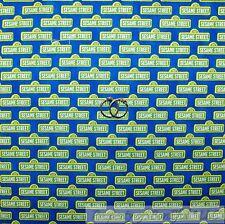 BonEful Fabric FQ Cotton Quilt Blue Green White Elmo Big Bird Sesame Street Sign