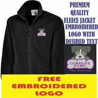 Personalised Embroidered Fleece Jacket DOG WALKING workwear UNIFORM LOGO