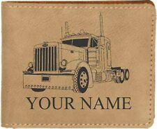 Peterbilt Tractor Leather Billfold With Drawing and Your Name On It-Nice Quality