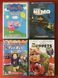 CHILDRENS DVD Job Lot x4  Peppa Pig  Fireman Sam  Finding Nemo  The Muppets Used