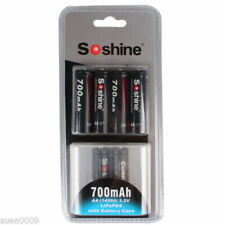 New 4pcs Soshine 14500 AA 3.2V 700mAh Rechargeable LiFePO4 Battery and 2 connect