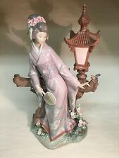 "collectible vintage porcelain figurines Lladro #1421 ""Mariko"" Giesha girl w/lamp"