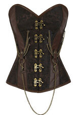 L Brown Metal Lock & Chains Corset Renaissance Steampunk Costume Steel Boning