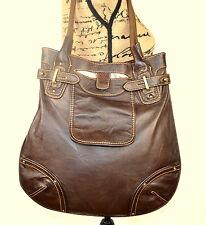 Large BILLY BAG Dark Brown Soft Supple Leather Tote Shoulder Grab Bag