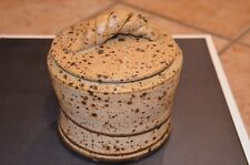 CHAPPELLE POTTERY BROWN SPECKLED COOKIE JAR BRAIDED HANDLE LID GA STUDIO ART EUC