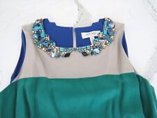 Nocturne Anthropologie $695 Jade Art Deco Bejeweled Collar Faux Silk Dress 6
