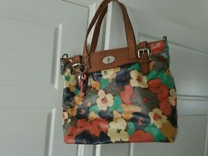 Fossil Key-per Floral Leather Trim Tote Bag with Fossil Charms, Good Condition