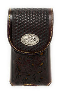Western Cowboy Tooled Floral Leather Rodeo Concho Belt Loop Cell Phone case