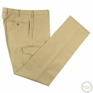 NWT Incotex Tan High Comfort Cotton Unlined Regular Fit Cargo Pocket Pants 33W