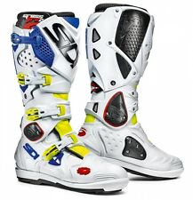 Stivali Sidi Crossfire 2SRS Bianco Blu Giallo Fluo Mx Boots Stiefel Botas 43 9.5