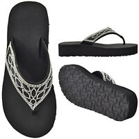 Womens Platform Flip Flop Rhinestone Thong Wedge Sandals Black