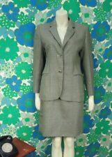 P61 Vintage Tweed Wool Skirt Suit 1990's 1980's Dog Tooth Shoulder Pads Size 10