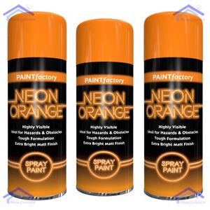 3X Bright Neon Orange Spray Paint Aerosol Matt Finish Hi Visible Safety - 200ml