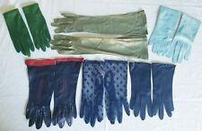 Lot of 6 Vintage Ladies Gloves Leather Cotton Nylon Mesh Blues & Greens