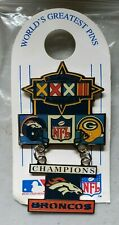 NFL Super Bowl  XXXII Denver Broncos Green Bay Packers Lapel Pin NOS