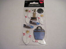 Scrapbooking Stickers Sandylion Bowling Pins Ball Shoes Trophy Bag Gold Stars