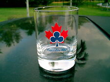 "CANADIAN CLUB WHISKY BLUE CLUB AND RED MAPLE LEAF 4"" GLASS NICE! REPLACEMENT"