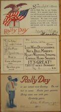Rally Day SET OF THREE Postcards - 1909, 1912 & 1915 - Sunday School/Church