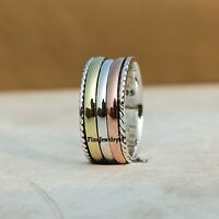 925 Sterling Silver Spinner Ring Wide Band Meditation Statement Jewelry A248