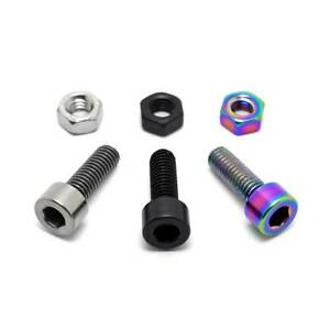 TLC BIKES Titanium BMX Seat Clamp Bolt and Nut - Natural, Black, Rainbow