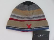 Lyle & Scott beanie hat boys age 6-10 yrs light darker grey blue beige red NEW