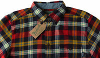 Men's WOOLRICH Navy Red Colors Plaid Flannel Cotton Shirt Large L NWT NEW