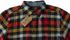 Men's WOOLRICH Navy Red Colors Plaid Flannel Cotton Shirt X-Large XL NWT NEW
