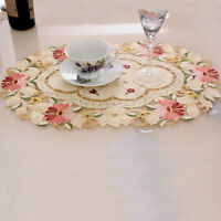 """Beige Placemat Insulation Fabric Mat Kitchen Dining Table Pad Doily Vintage 19"""""""