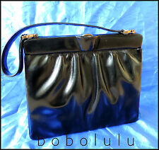 VINTAGE WALDYBAG 1940s-1950s BLACK LEATHER HANDBAG BAG PURSE GOODWOOD ROCKABILLY