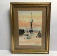 Watercolour Of Fishing Boats At Dock Maybe Folkestone Signed Mounted Framed