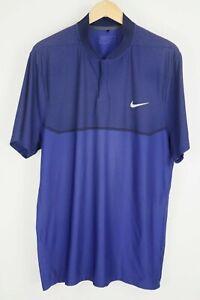 Nike Momentum Fly Swing Knit Alpha Golf Polo Blue/Black Mens sz XL