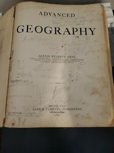 Vintage Atlas -1899 Ginn Geography -Neat Maps & Drawings -WORN !